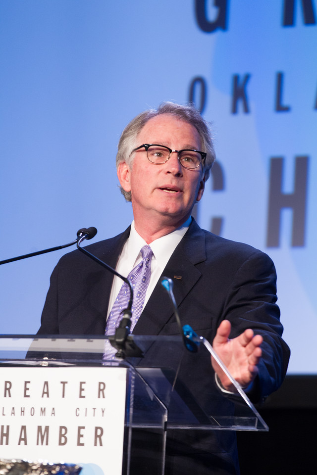 David Rainbolt speaking at the Greater Oklahoma CIty Chamber of Commerce meeting held at the Cox Convention Center.