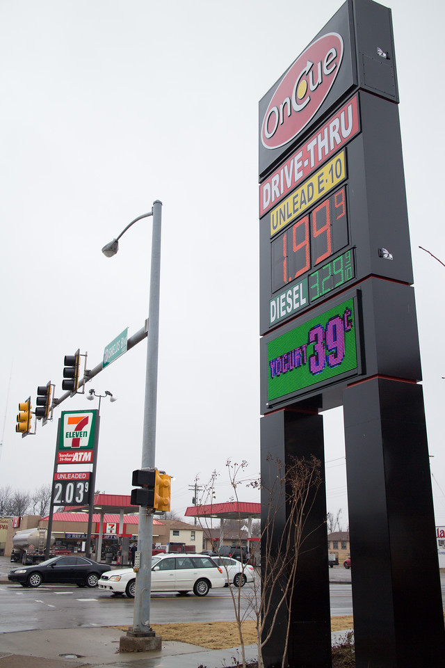 The OnCue gas station at SE 44th and Shartel in Oklahoma CIty is selling gas for $1.99.