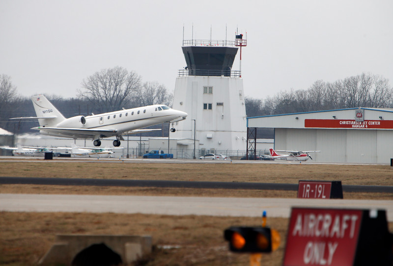 A private jet departs the Riverside airport in Jenks Tuesday.