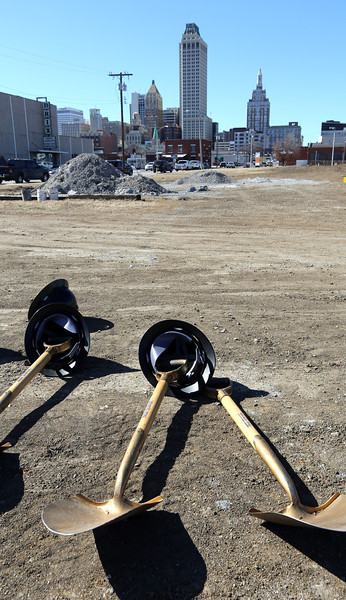 Shovels rest ready for use at the Urban 8 Groundbreaking in downtown Tulsa Friday.