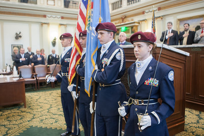 Members of the Choctaw High School JROTC served as color gaurd for the governer's 2014 State of the State address.