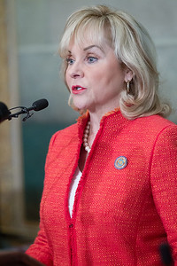 Gov Maty Fallin at the Associated Press forum held at the Oklahoma State Capitol.