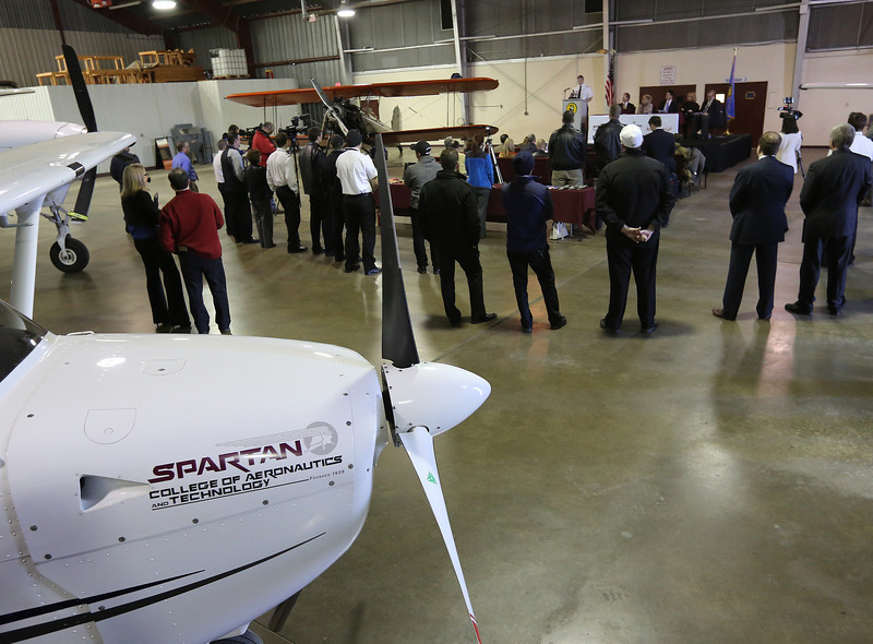Nicholas Brice, Director of Pilot Recruitment for American Eagle airlines, helps to announce the Pilot Pipeline Program partnership with Tulsa's Spartan college of Aeronautics.