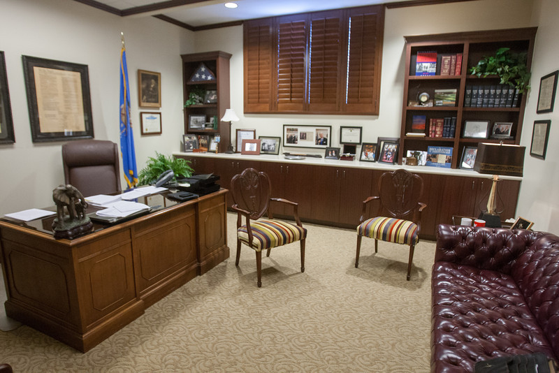 Oklahoma State Senator Dan Newberry's new office in a recently remodled section of the second floor of the state capitol.