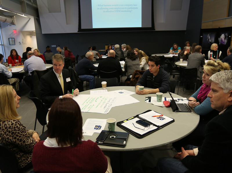 Members of the the Tulsa Regional STEM Alliance attend a round table conference at the TCC Center for Creativity.