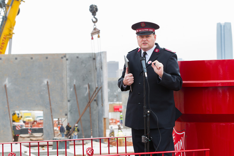 Major Stve Morris at the ground breaking of the new home of Salvation Army at NW 10th and Penn in Oklahoma city, OK.