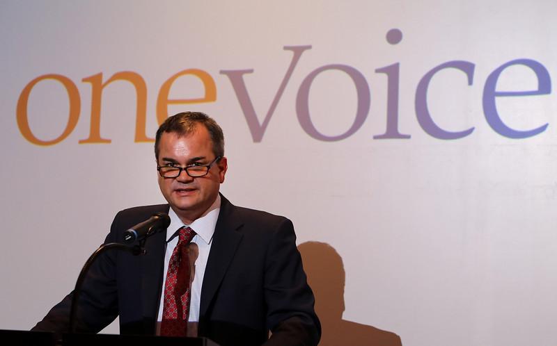 Brian Bingman, President Pro Tempore of the Oklahoma Senate gives his presentation at the OneVoice Press Conference in Tulsa.