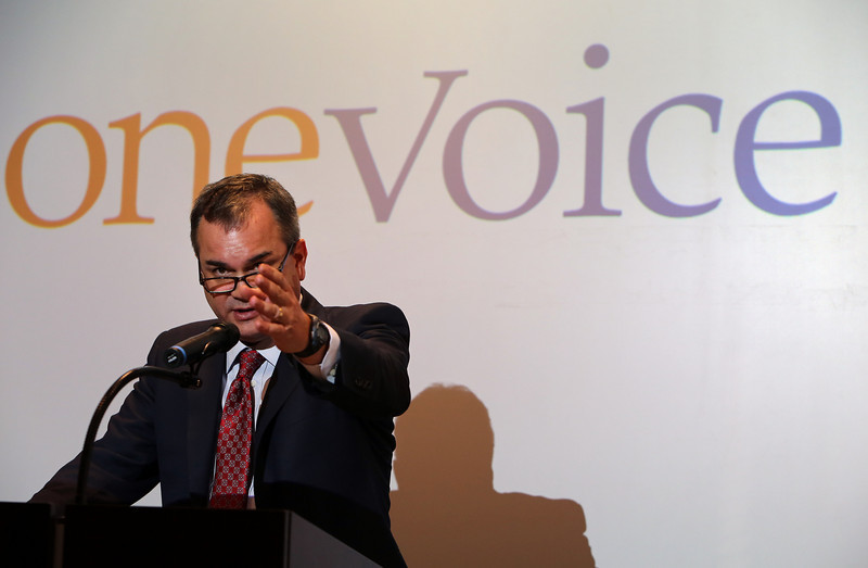 Brian Bingman, President Pro Tempore of the Oklahoma Senate, gestures as he gives his presentation at the OneVoice Press Conference in Tulsa.