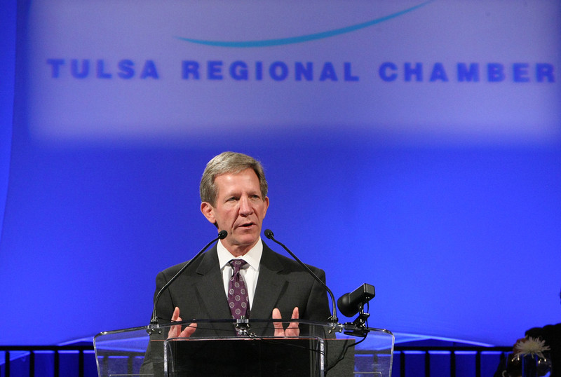 Wade Edmundson, CEO of Commerce Bank, gives his presentation after being formally inaugurated as the 2014 Chairman of the Board of Directors of the Tulsa Regional Chamber of Commerce.