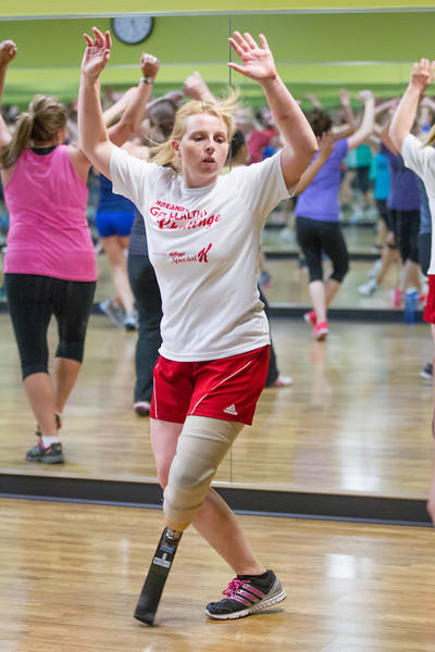 Amy Bruecks in a cardio dance class at Biff's Gym in Yukon, OK.