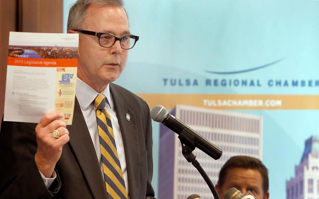 Brian Bingman, Oklahoma Senate President Pro Temper  holds the Tulsa Regional Chambers OneVoice Legislative Statement.