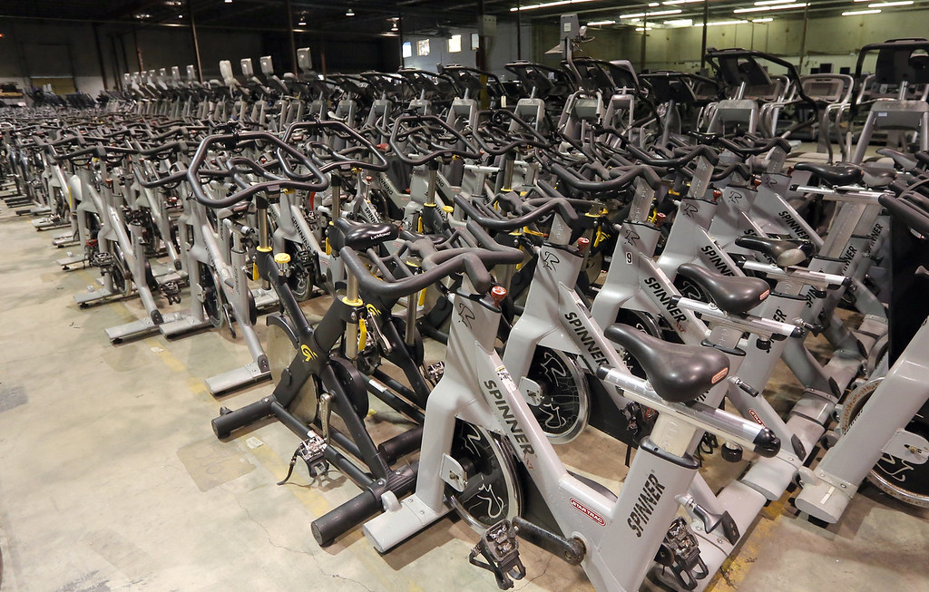 Exercise equipment fills Commercial Fitness Concepts warehouse in Tulsa.