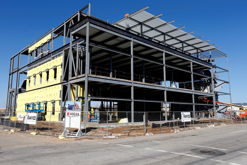 Construction continues on the Hogan Assessment Sytems $11.5 million downtown Tulsa headquarters.