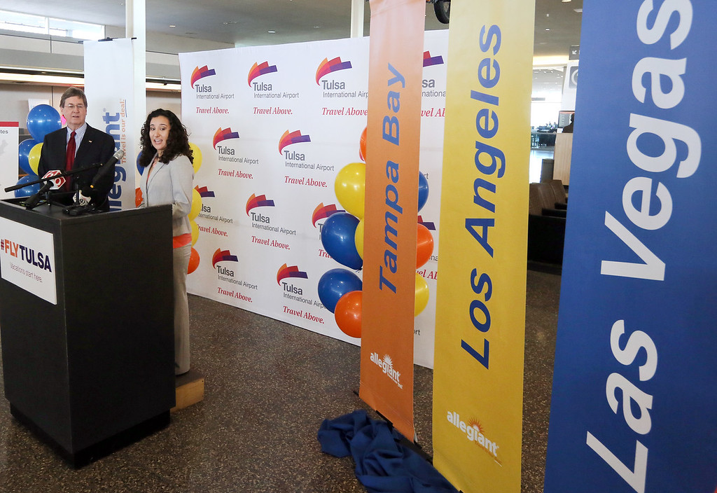 Mayor Dewy Bartlett and Laura Balloter, Public Relations Specialist for Allegiant Airlines, announce three new non-stop flights from Tulsa. <br /> <br /> Year round service to Las Vegas starts April 8th - As low as $65 one way<br /> <br /> Seasonal Service to:<br /> Tampa Bay May 7 - Aug 18  - As low as  $80 one way<br /> Los Angeles June 5 - Aug 18 - As Low as $81 one way