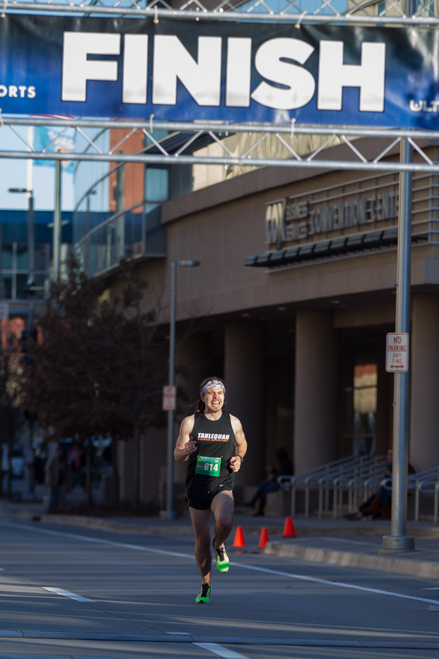 Ara Pateete was the first to finish the 2015 Freeze Your Face Off 5k marathon in Oklahoma CIty, OK.