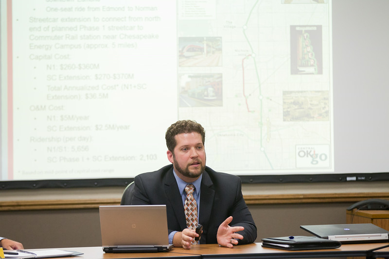 Ian Bryant, with URS Corporation, consulting with ACOG on the possiable routes for a light rail system in the OKlahoma City metro.