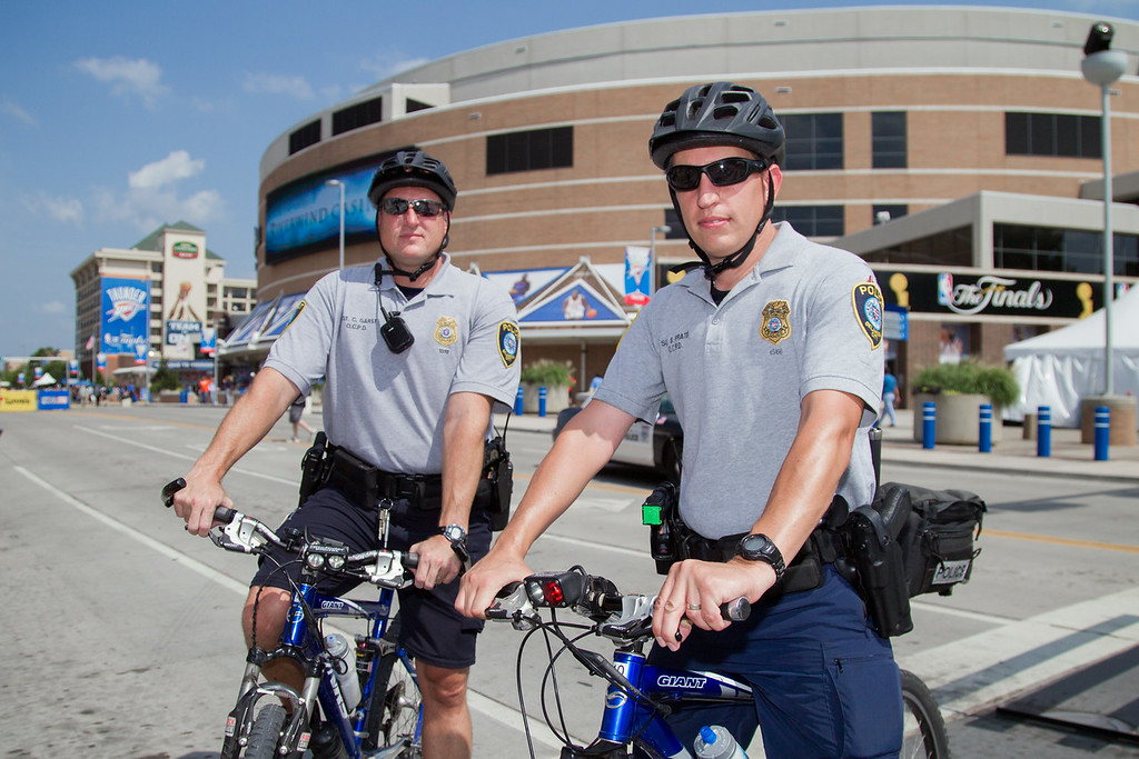 Sgt. Garst and Sgt. Pratter, with the OKCPD, are two of the many additional officers needed at the NBA play offs in Oklahoma City.