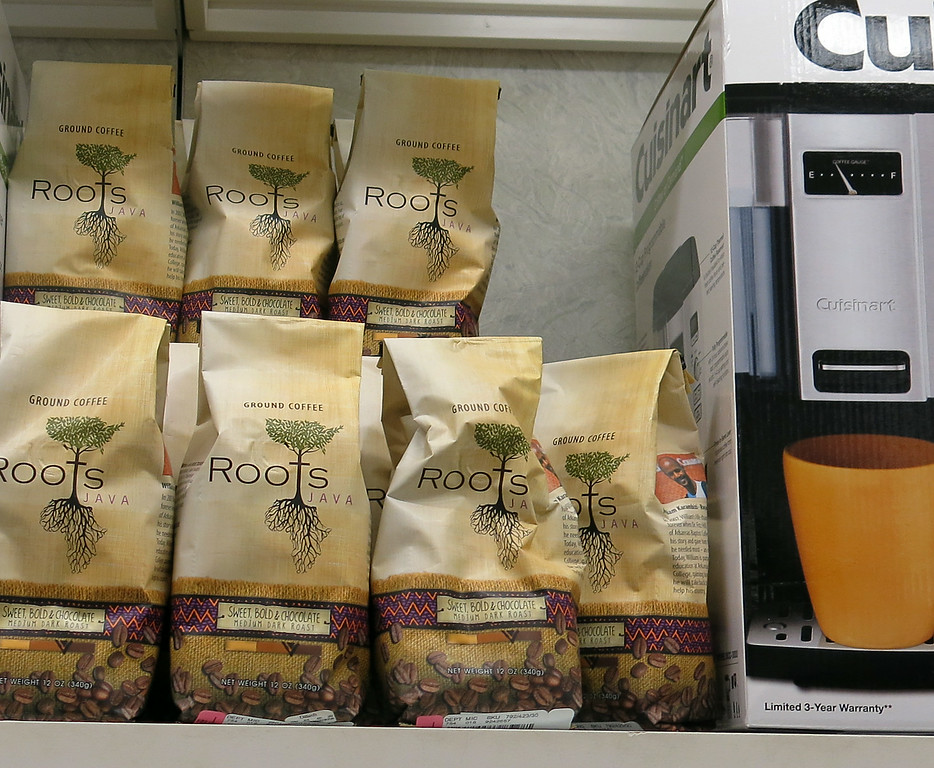 Roots Coffee on display on the shelf at the Dillards store in Tulsa.
