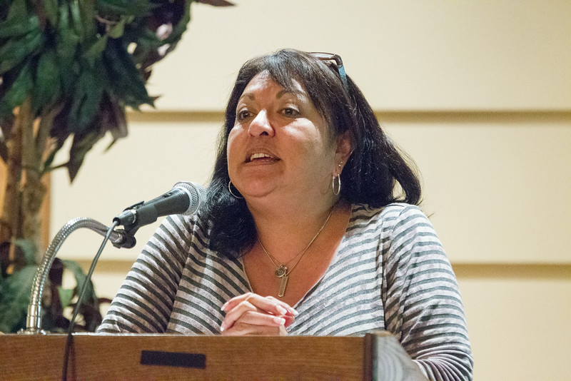 Oklahoma Indian Gaming Association Executive Director Sheila Morago speaks at the American Indian Chamber of Commerce of Oklahoma luncheon held Thursday at the Twin Hills Golf and Country Club. Morago spoke about gambling in Oklahoma.