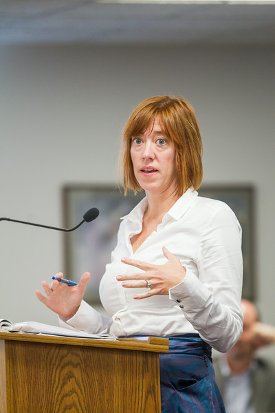 Cheryl Vaught, attorney for Oklahoma Energy Results, a group of independent power producers, asked questions of OGE about their proposed upgrade and conversion of Oklahoma based power plants during a public meeting at the the Oklahoma Corporation Commision.