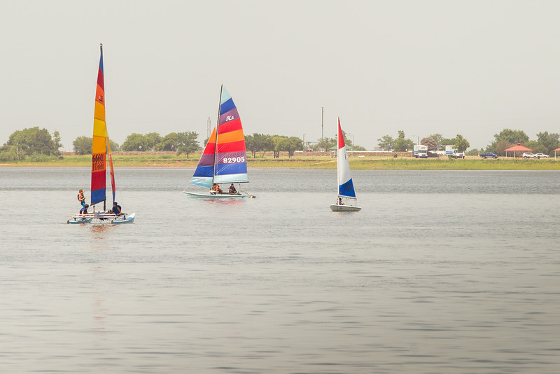 People sailing at Lake Hefner in Oklahoma CIty, OK.
