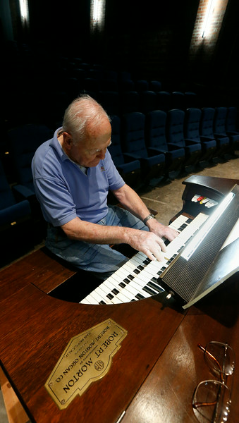 Phil Jedkins plays the pipe organin the large theatre at Tulsa's Circle Cinema.