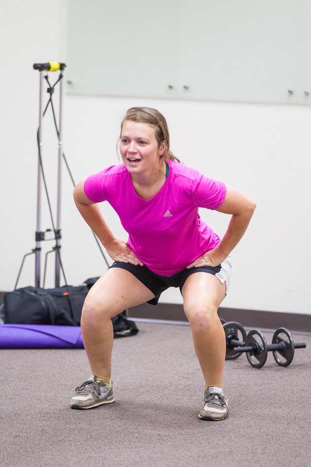 Lauren Jones leads Total Body Tone class for employees at OU Healthand Science Center.
