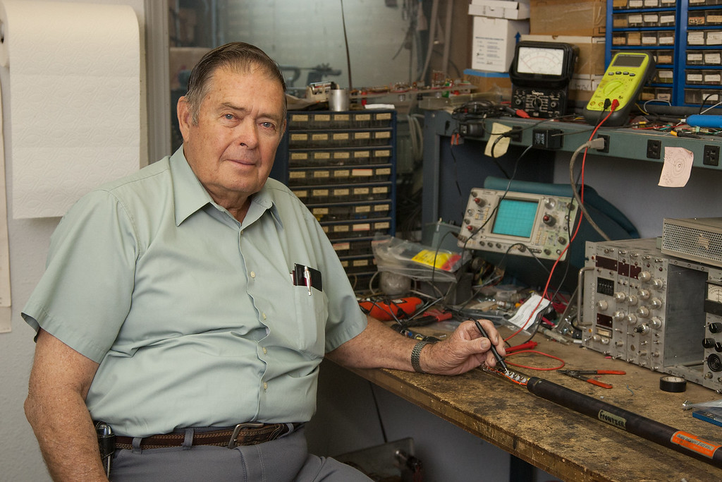 Geophysicist Francis Weeden at his work bench at Frontier Logging Corp in Oklahoma CIty.