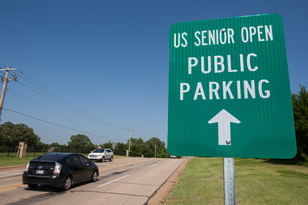 Signs leading traffic to the US Senior Open have been put up in Edmond, OK.