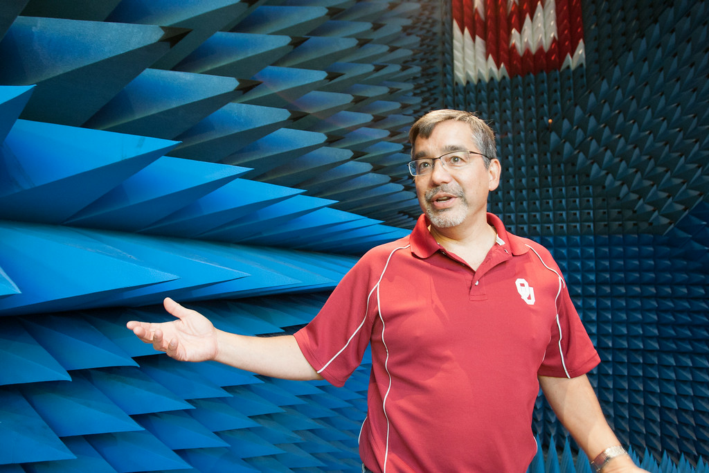 Dr Bob Palmer in a radar testing room at the Advance Radar Research Center.