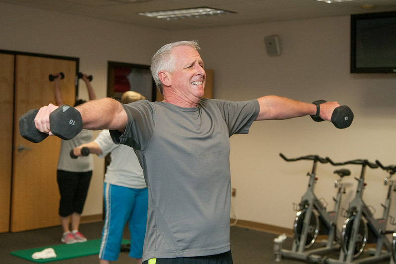 "Sam Gaglia works out in the lunch time class ""Tabata"" offered at Hertz in Oklahoma City, OK."
