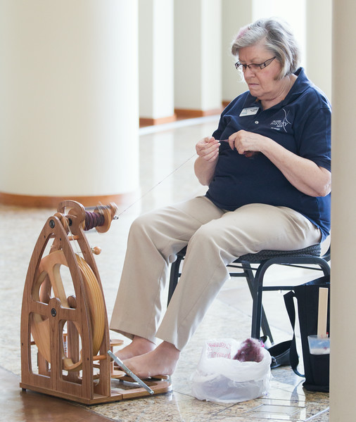 Joan Galbraith spins wool at the Oklahoma History Center in Oklahoma City, OK.
