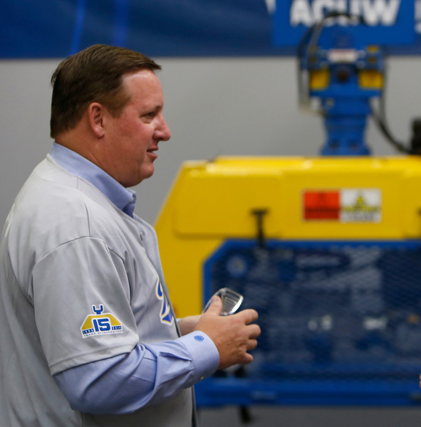 Vacuworx President Bill Solomon displays the companies newest product at the companies Tulsa manufacturing plant.