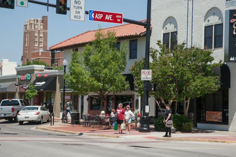 Campus Corner at Asp and Boyd in Norman, OK.