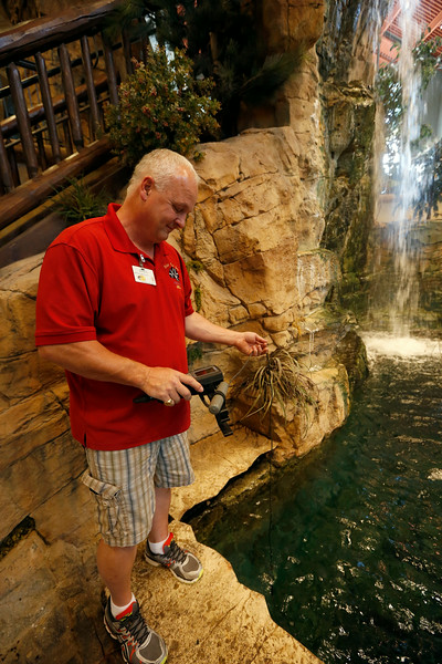 Greg Huddleston of Under the Sea test the water in the main fish tank at the Broken Arrow Bass Pro.