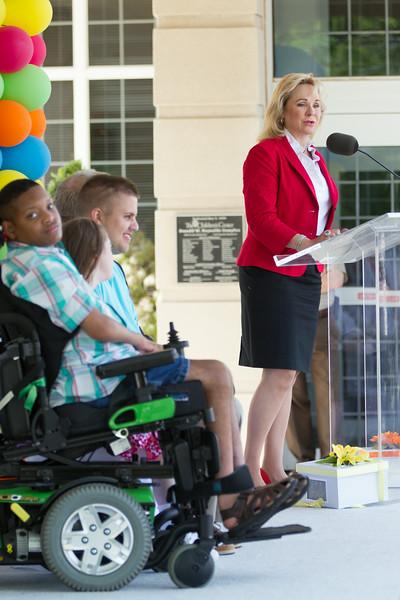 Gov Mary Fallin speaking at the newly named Children's Center Rehabilitation Hospital in Bethany, OK.
