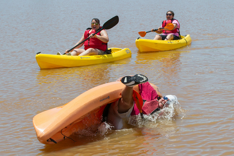 While kayaking with friends on the Oklahoma River, Barry Whiteman losses his balance and falls into the river.
