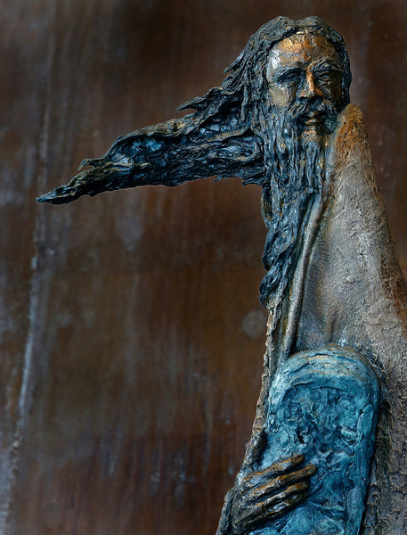 A sculpture of Moses from artist Gib Simgoetom on display in the main lobby of the Sherwin Miller Museum of Jewish Art in Tulsa.