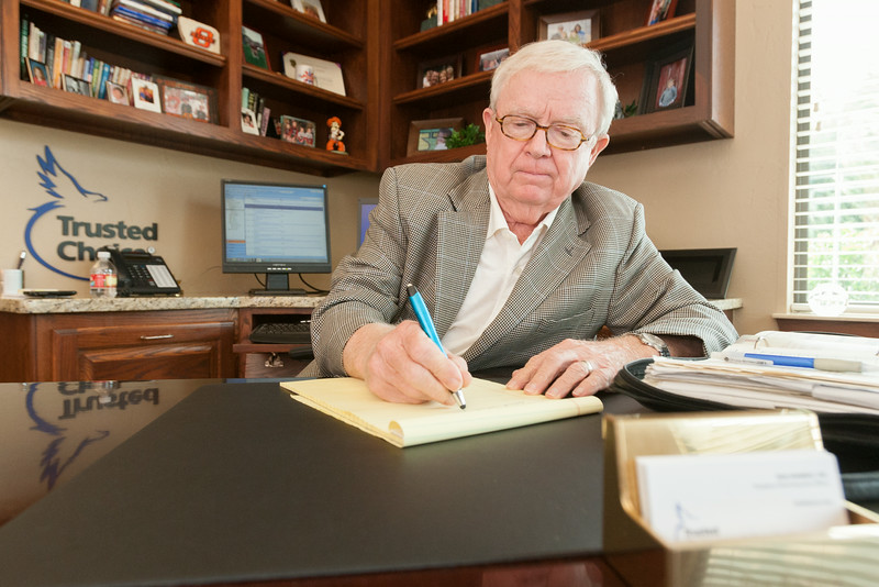 Dan Ramsey in his office at Independant Insurance Agents of Oklahoma.