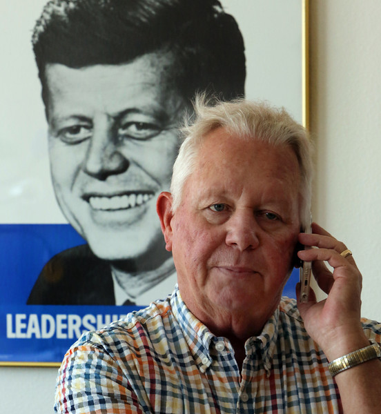 Harry Willis of Orca Media takes a phone call.