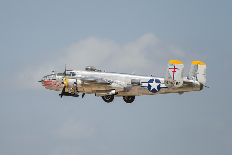 "A B-24 named ""Super Rabit"" takes off from Wiley Post Airport in Oklahoma City, OK."