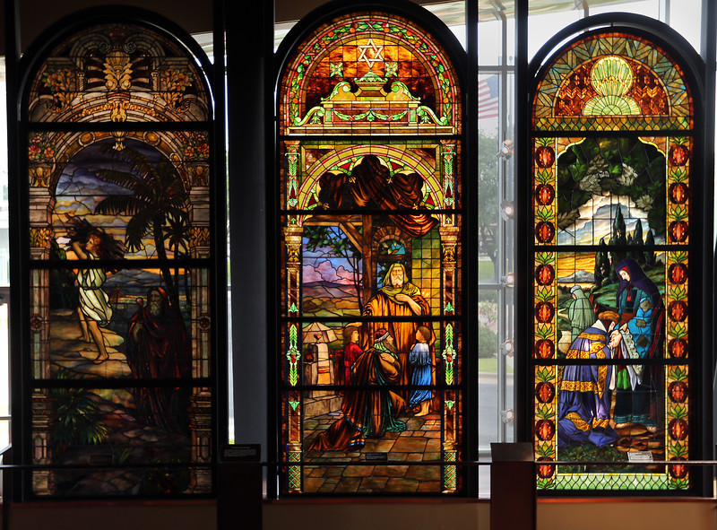 Stain glass windows  on display in the main lobby of the Sherwin Miller Museum of Jewish Art in Tulsa.