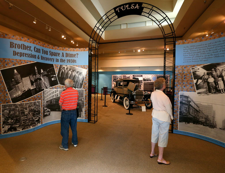 Visitors admire the Tulsa Historical Societies Great Depression Exhibit.