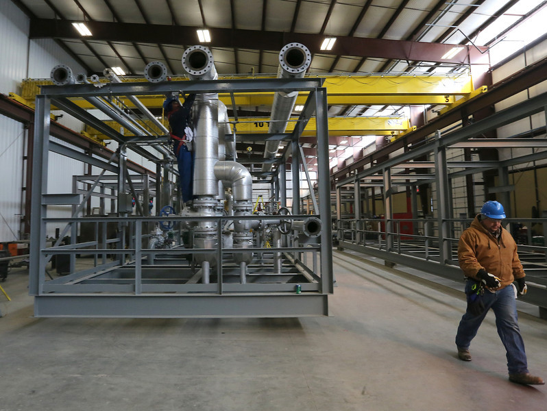 A sulfur module being assembled in January of 2014 at the port of catoosa for shipment to Iraq.