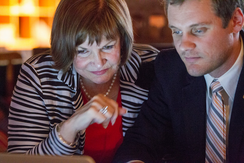 Freda Deskin (left), running for state superintident, checks election results with Andrew Rickle.