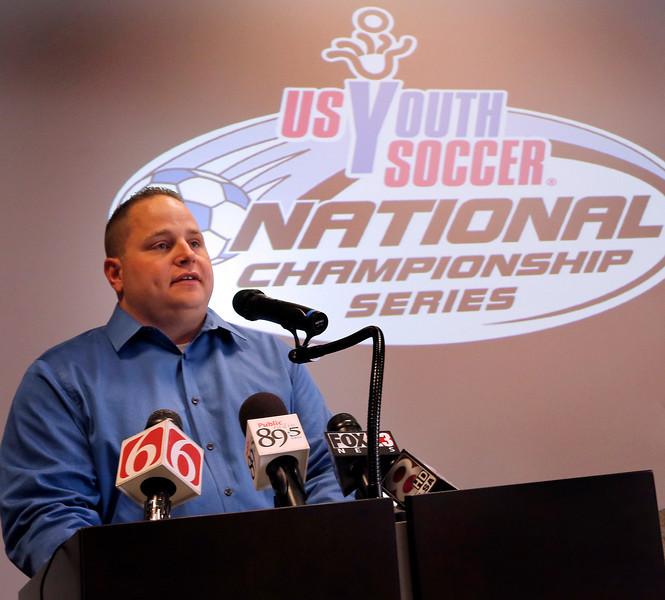 During a news conference Friday President of the Oklahoma Soccer Association Tom Wedding announces that the US Youth Soccer National Championships will be held in Tulsa next year.  The event will be held at the Mohawk Soccer Complex July 20-26, 2015.