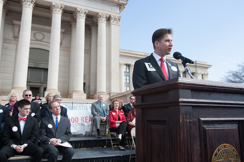 Oklahoma teacher of the year Peter Markes speaking at a rally for education funding at the Oklahoma State Capitol.