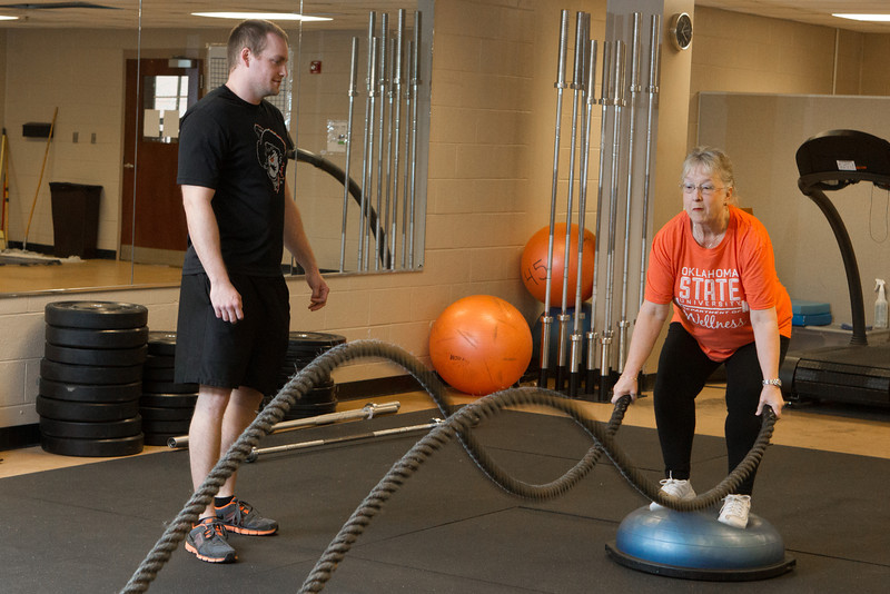 OSU employee Vina Dean works out at the Culvin Center on campus in Stillwater, OK.