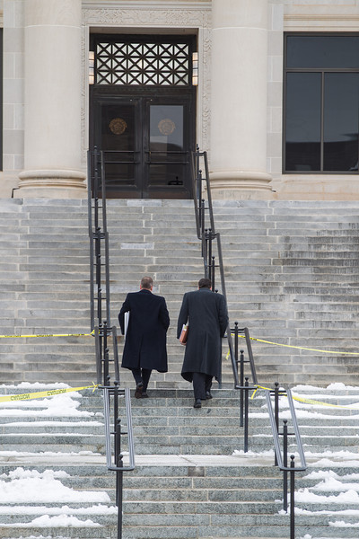 Two men entering the Oklahoma Supreme Court building in Oklahoma City, OK.