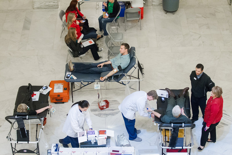 The Oklahoma Red Cross held a blood drive on the 3rd floor of the state capitol.